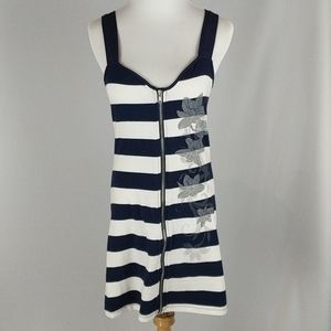Zenana Outfitters striped front zip dress